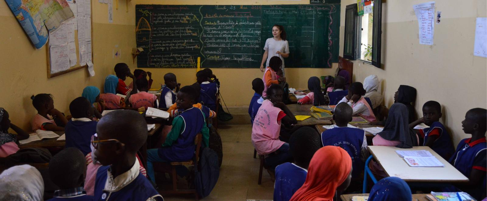 A teaching student in Senegal gains confidence as she teaches, just one of the benefits of volunteering